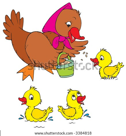 Hen and Ducklings - stock vector