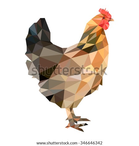 Hen in low polygon style on white background, vector illustration - stock vector