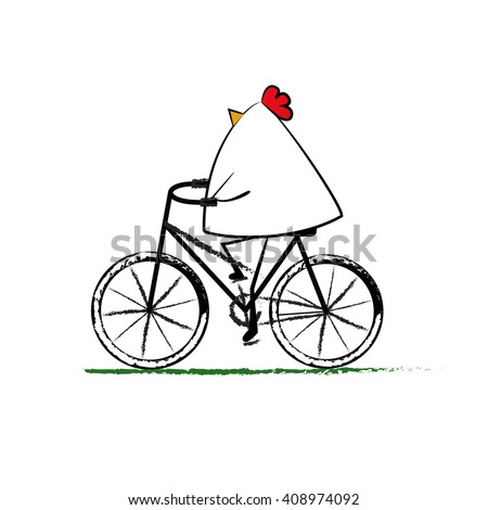 Hen ride a bicycle isolated on white background - stock vector