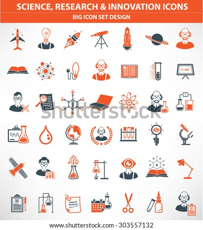 hence,Research and innovation icon set,orange version,clean vector - stock vector