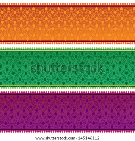 Henna Banner/ Border, Henna inspired Colorful Border - very elaborate and easily editable - stock vector