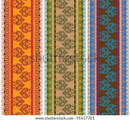 Henna Banner/ Border, Henna inspired Colourful Border  - very elaborate and easily editable - stock vector