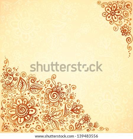 Henna colors flourish artistic background - stock vector