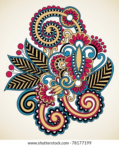 henna floral tattoo design, ornamental decorations - stock vector