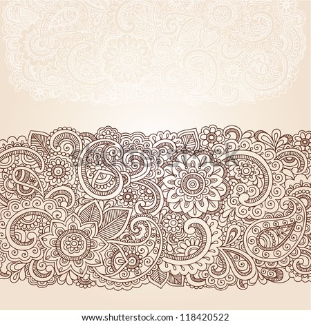 Henna Flowers and Paisley Mehndi Tattoo Edge Design Doodle- Abstract Floral Vector Illustration Design Elements - stock vector