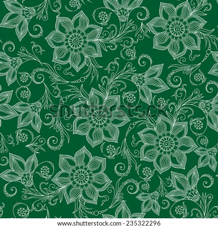 Henna Mehendi Tattoo Doodles Seamless Pattern on a green background - stock vector
