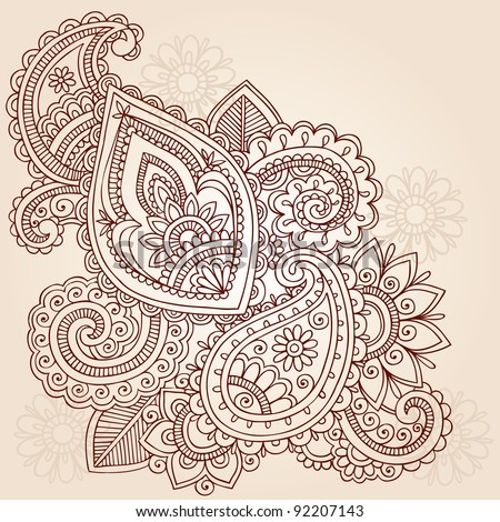 Henna Mehndi Doodles Abstract Floral Paisley Vector Illustration Design Element - stock vector