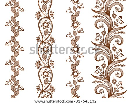 Henna ornamental seamless borders. Mehndi style. Four floral one-color borders, vertical seamless pattern. Smartly layered. - stock vector