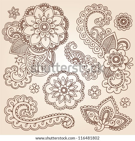 Henna Paisley Flowers Mehndi Tattoo Doodles Set- Abstract Floral Vector Illustration Design Elements - stock vector