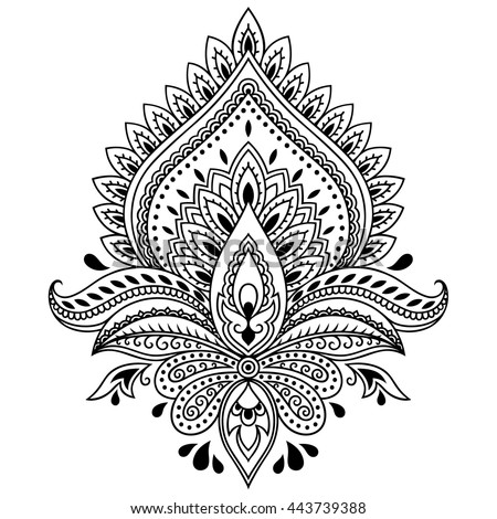 Henna Tattoo Flower Template Indian Style Stock