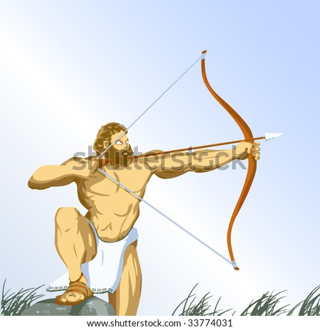 Heracles with bow - stock vector