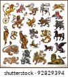 Heraldic beast collection - stock photo