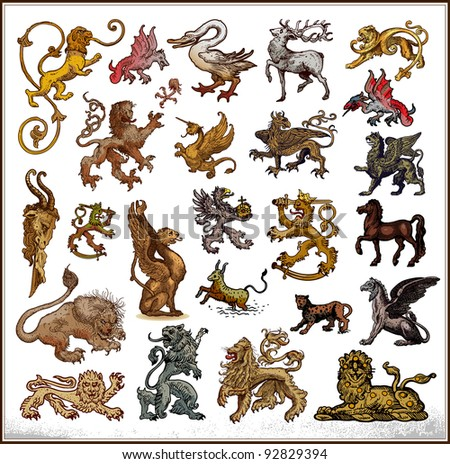 Heraldic beast collection - stock vector
