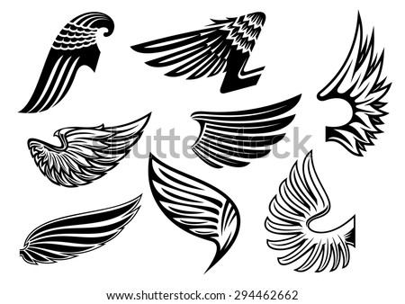 Heraldic black and white angel or evil wings with different shapes and plumage - stock vector