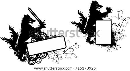 Heraldic Black Wolf Tattoo Copyspace Set Vector De Stock715170925