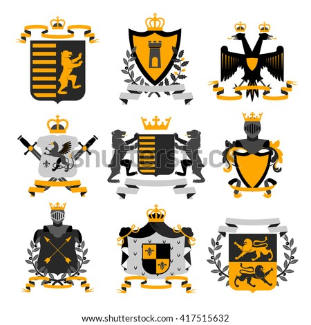 Heraldic coat of arms family crest and shields emblems golden black icons collection abstract isolated vector illustration - stock vector