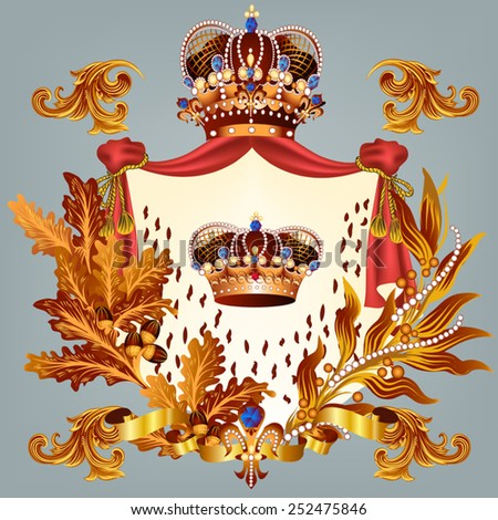 Heraldic coat of arms in vintage style for design - stock vector