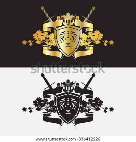 Heraldic Coat of Arms with swords, shield, ribbon and helmets. - stock vector