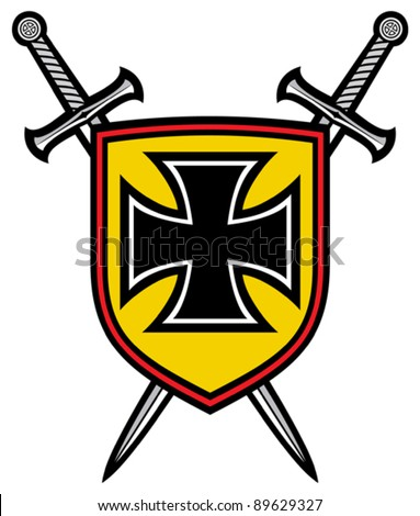 heraldic composition - shield, crossed swords and cross (coat of arms) - stock vector