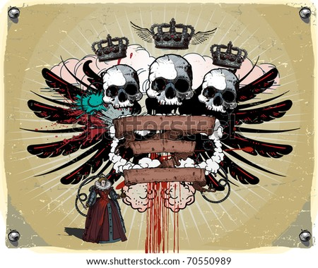 Heraldic composition with the skull, ribbons and wings. - stock vector