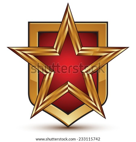 Heraldic 3d glossy shield icon with a golden star, graphic design element, five-pointed star with red filling, clear EPS 8 vector. - stock vector