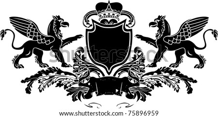 Heraldic Double Griffin Shield Crest - stock vector
