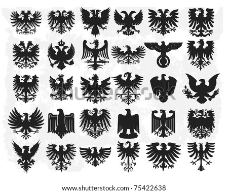 Heraldic eagles - stock vector