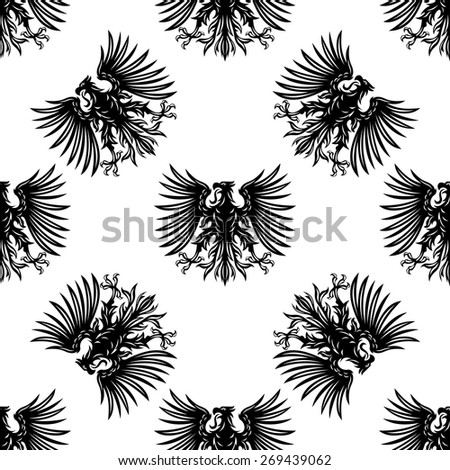 Heraldic eagles seamless pattern with silhouettes of royalty hawks on white background for medieval interior design - stock vector