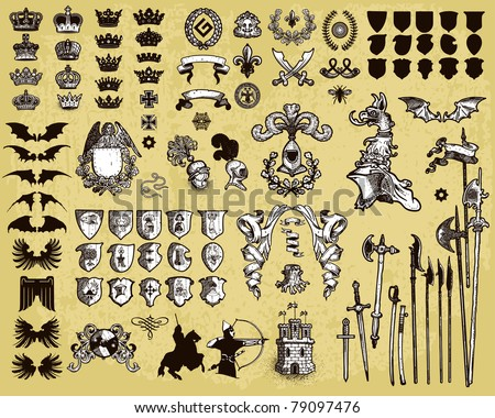 Heraldic elements - stock vector