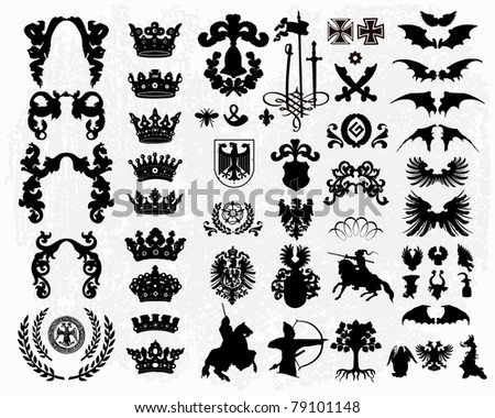 Heraldic elements - silhouettes - stock vector
