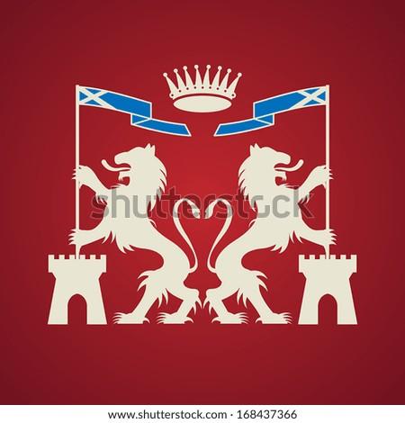 Heraldic emblem, vector illustration - stock vector