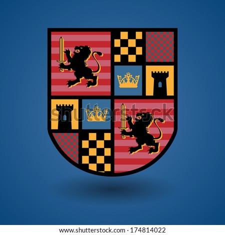 Heraldic emblem, vector illustration - stock vector
