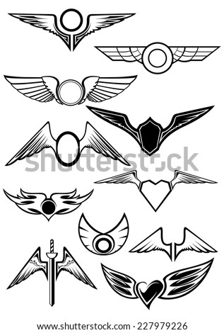 Heraldic emblems set with wings for aviation, heraldry and tattoo design - stock vector