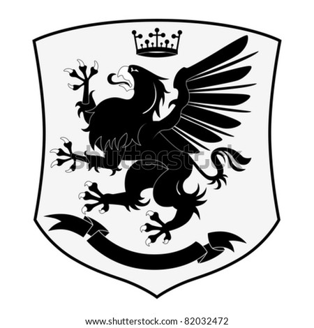 Heraldic Griffin isolated on white background - stock vector