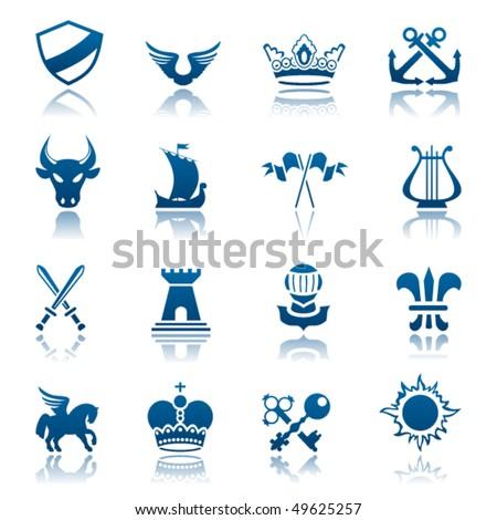 Heraldic icon set - stock vector
