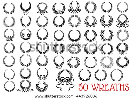 Heraldic laurel wreaths icons with laurel and olive branches, flowers, wheat ears and herbal twigs arranged into circle frames with ribbon banners and decorative bows. Victory and awarding design