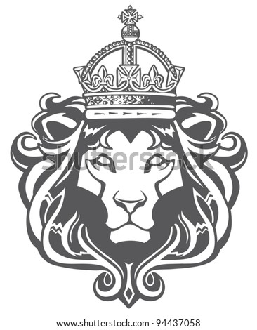 Heraldic Lion Head - stock vector