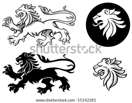 Heraldic lion silhouettes - stock vector