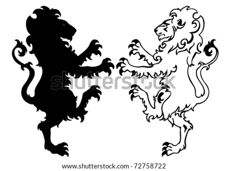 heraldic lion vector illustration - stock vector