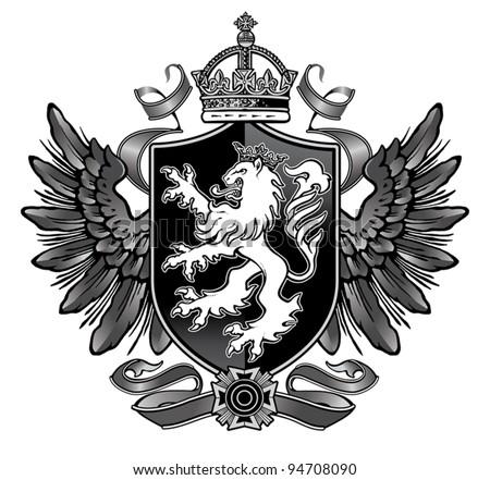 Heraldic Lion Wing Crest - stock vector