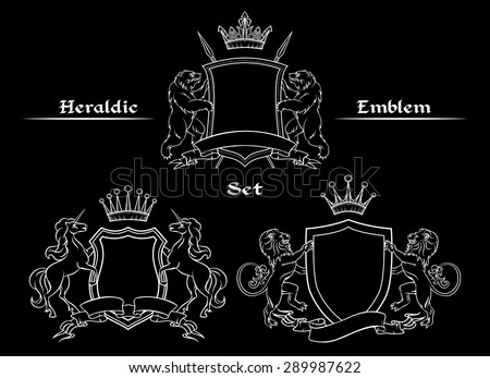 Heraldic logo signs set. Shield and crown, unicorn and spear, lion and bear, vector illustration - stock vector