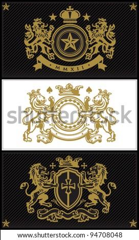 Heraldic Luxury Crest Set 1 - stock vector