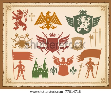 Heraldic medieval set with lions, knights and eagles - stock vector