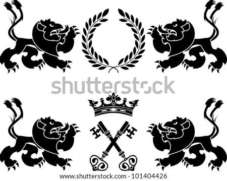 heraldic monsters. stencils. vector illustration - stock vector