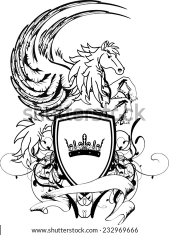 heraldic pegasus coat of arms crest shield tattoo in vector format very easy to edit