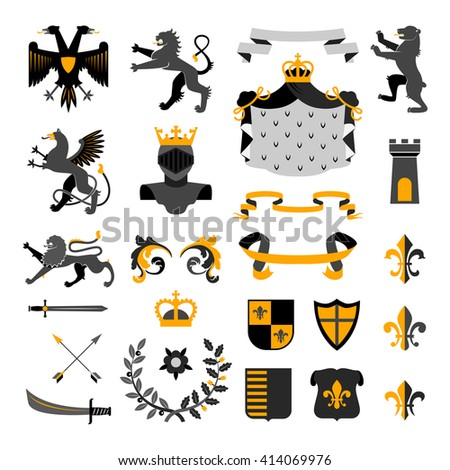 Heraldic royal symbols emblems design and coat of arms elements collection golden black abstract isolated vector illustration - stock vector
