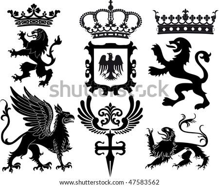 heraldic set - stock vector