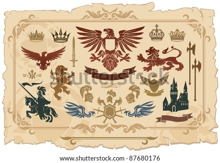 Heraldic set of lions, eagles, crowns and shields drawings - stock vector