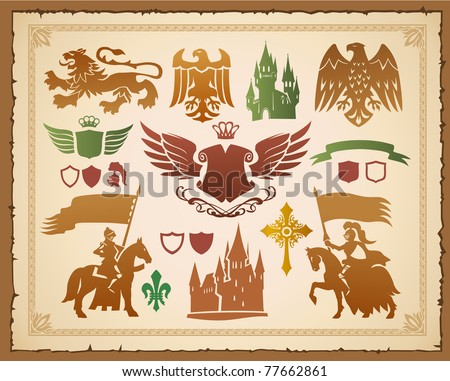 Heraldic set with lions, knights and eagles - stock vector