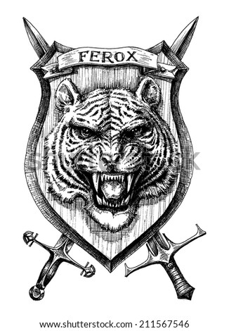 Heraldic shield tiger head, detailed hand drawn vector - stock vector